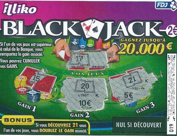 jeu de grattage black jack